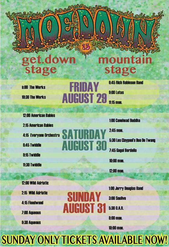 Moe.Down 2014 Schedule