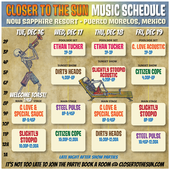 Closer to the Sun 2014 Schedule