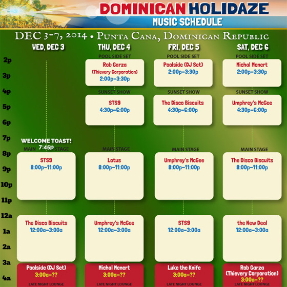 Dominican Holidaze Schedule 2014