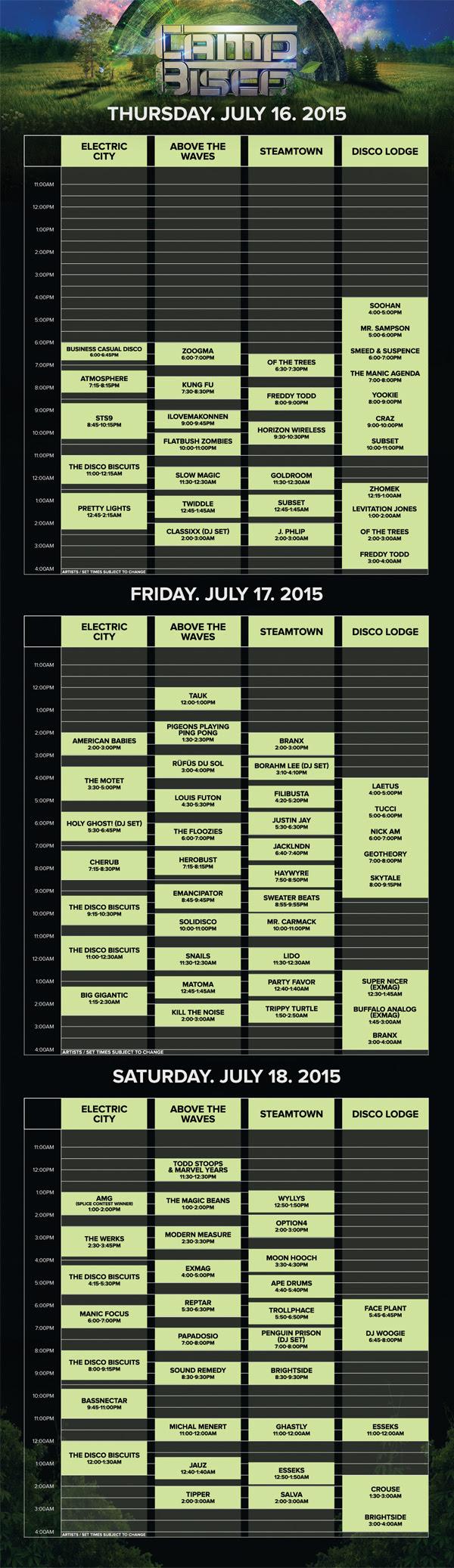 Camp Bisco - Schedule 2015