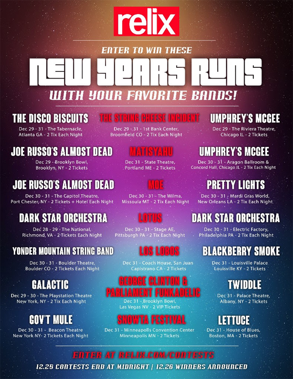 Relix NYE Ticket Giveaway